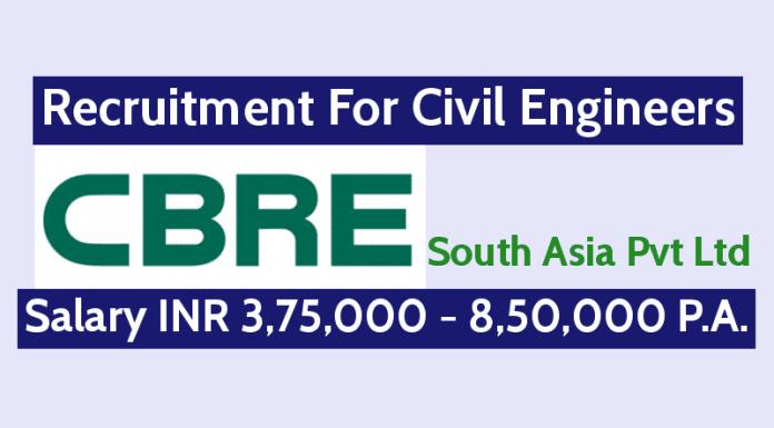 CBRE South Asia Pvt Ltd Hiring Civil Engineers Salary INR 3,75,000 - 8,50,000 P.A.