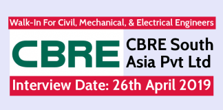 CBRE South Asia Pvt Ltd Walk-In For Civil, Mechanical, & Electrical Engineers Interview Date 26th April 2019