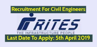 RITES Recruitment 2019 For Civil Engineers Last Date To Apply 5th April 2019