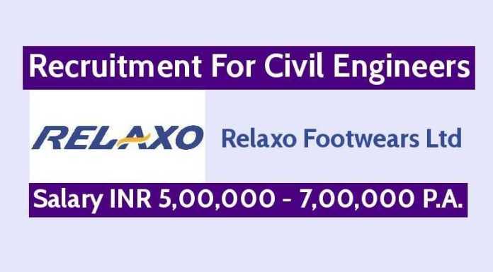 Relaxo Footwears Ltd Hiring Civil Engineers Salary INR 5,00,000 - 7,00,000 P.A.