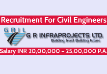 G R Infraprojects Ltd Recruitment For Civil Engineers Salary INR 20,00,000 – 25,00,000 P.A.