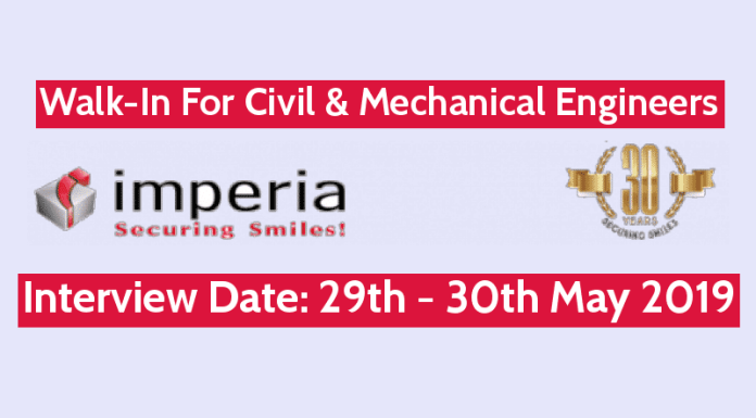 Imperia Structures Ltd Walk-In For Civil & Mechanical Engineers Interview Date 29th - 30th May 2019