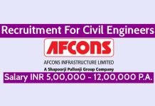 Afcons Infrastructure Ltd Recruitment For Civil Engineers Salary INR 5,00,000 - 12,00,000 P.A.