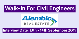Alembic Real Estate Walk-In For Civil Engineers Interview Date 13th - 14th September 2019
