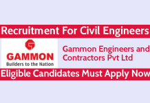 Gammon Engineers and Contractors Pvt Ltd Recruitment For Civil Engineers Eligible Candidates Must Apply Now
