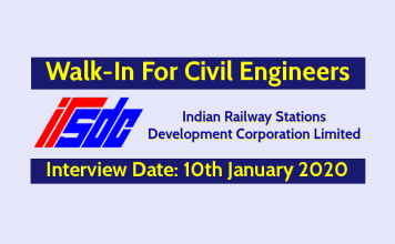 IRSDC Walk-In For Civil Engineers Interview Date - 10th January 2020