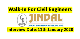 Jindal Infrastructures Pvt Ltd Walk-In For Civil Engineers Interview Date 11th January 2020