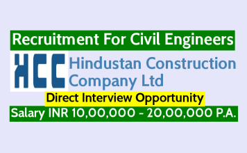 HCC Recruitment For Civil Engineers Direct Interview Opportunity Salary INR 10,00,000 - 20,00,000 P.A.