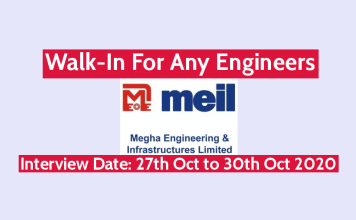 MEIL Walk-In For Any Engineers Interview Date 27th Oct to 30th Oct 2020
