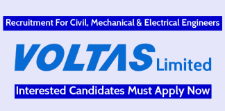 Voltas Limited Recruitment For Civil, Mechanical & Electrical Engineers Interested Candidates Must Apply Now