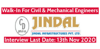 Jindal Infrastructures Pvt Ltd Walk-In For Civil & Mechanical Engineers Interview Last Date 13th Nov 2020