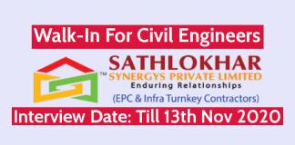 Sathlokhar Synergys Pvt Ltd Walk-In For Civil Engineers Interview Date Till 13th Nov 2020