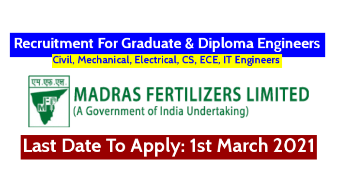 Madras Fertilizers Ltd Recruitment For Graduate & Diploma Engineers Last Date To Apply 1st March 2021