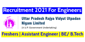 UPRVUNL Recruitment 2021 For Engineers Freshers Assistant Engineer BE B.Tech