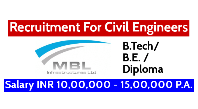 MBL Infrastructures Ltd Recruitment For Civil Engineers Salary INR 10,00,000 - 15,00,000 P.A.