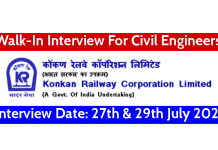 Konkan Railway Walk-In Interview For Civil Engineers Interview Date 27th & 29th July 2021