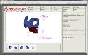 So sieht ein Beispieldokument aus SolidWorks MBD aus: Mit Firmenlogo, der Ansichtenauswahl unten und Zusatzinfos rechts.