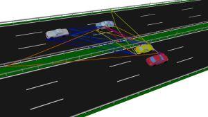 WinProp ermöglicht es unter anderem, die Kommunikation zwischen fahrenden Autos zu simulieren.