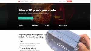 3D Hubs ist seit Jahren recht erfolgreich mit seiner 3D-Druck-Plattform präsent (Screenshot der 3D Hubs-Homepage).