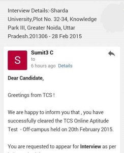TCS Off-Campus Result & Interview Details Email ScreenShots-3