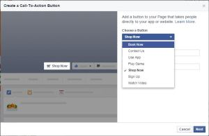 List of Links to Create with call-to-Action Button on facebook