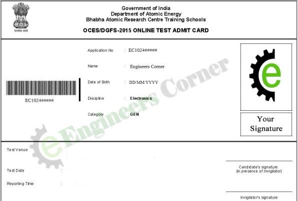 BARC Admit Card/Hall Ticket 2015