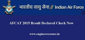 AFCAT 2015 Result Declared Check Now