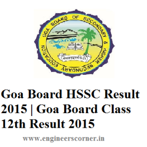 GOA Board HSSC Class 12th result 2015