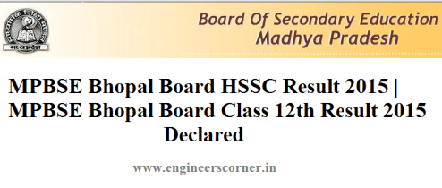 MPBSE HSSC Class 12th result 2015