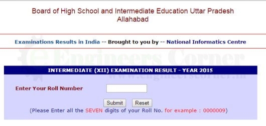 UP Board Intermediated Class 12th result 2015