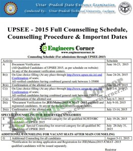 UPTU UPSEE 2015 Counselling Shedule and important dates