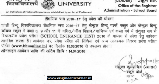 BHU CHS 2016 2017 admission notice