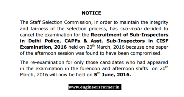 SSC CPO SI paper leaked re-exam 5th june 2016 ssc.nic.in