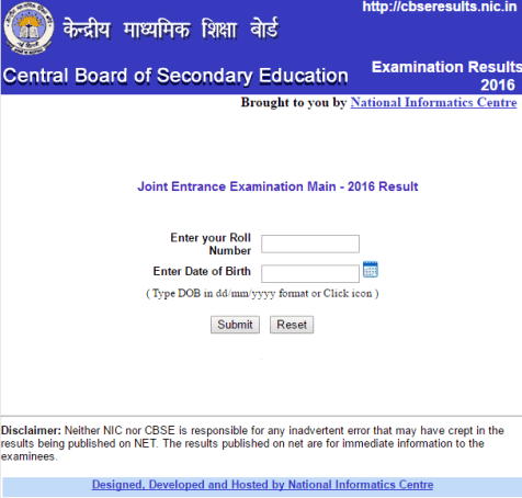 CBSE JEE Main 2016 Result