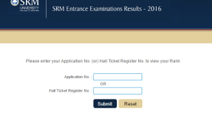 SRMJEEE Results 2016 SRM University Entrance exam result 2016 srmuniv.ac.in