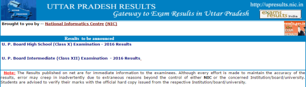 UP Board Class 10th 12th high school and intermediate result 2016