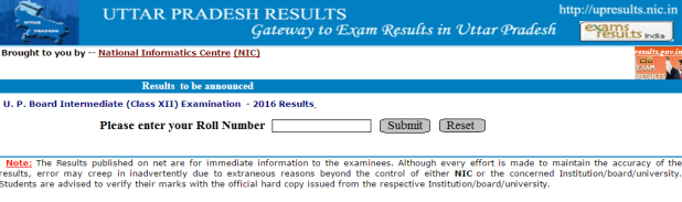 UP Board Class 12th result 2016 intermediate result