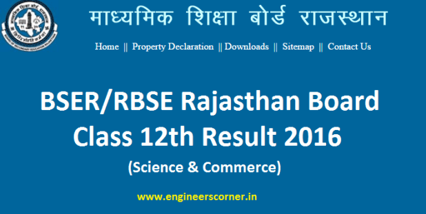 rajresults.nic.in BSER Rajasthan Board Class 12th Result 2016 (Science & Commerce) Declared