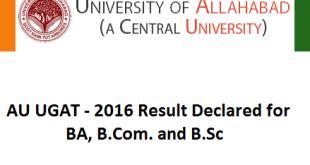 Allahabad university UGAT 2016 result BA bcom bsc result