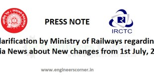New Rule change by IRCTC from 1st July 2016 is incorrect - Indian Railway