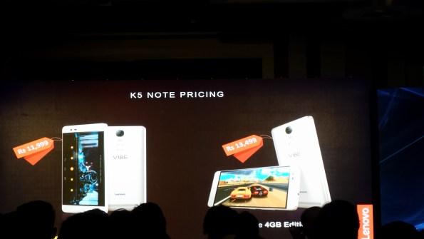 Lenovo Vibe K5 Note Pricing