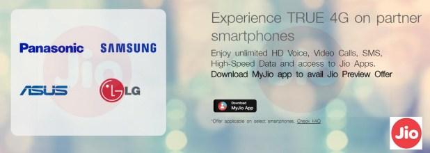 Reliance Jio Free SIM offer for ASUS, Panasonic, Samsung LG Partner 4G Phones