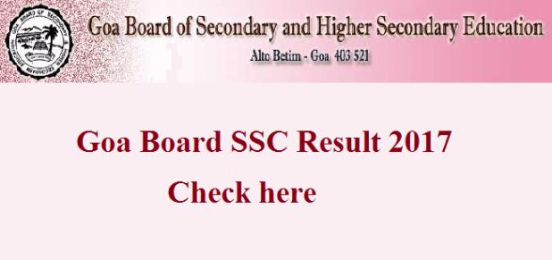 Goa SSC Result 2017