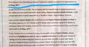 PayTM Payments Bank Notice