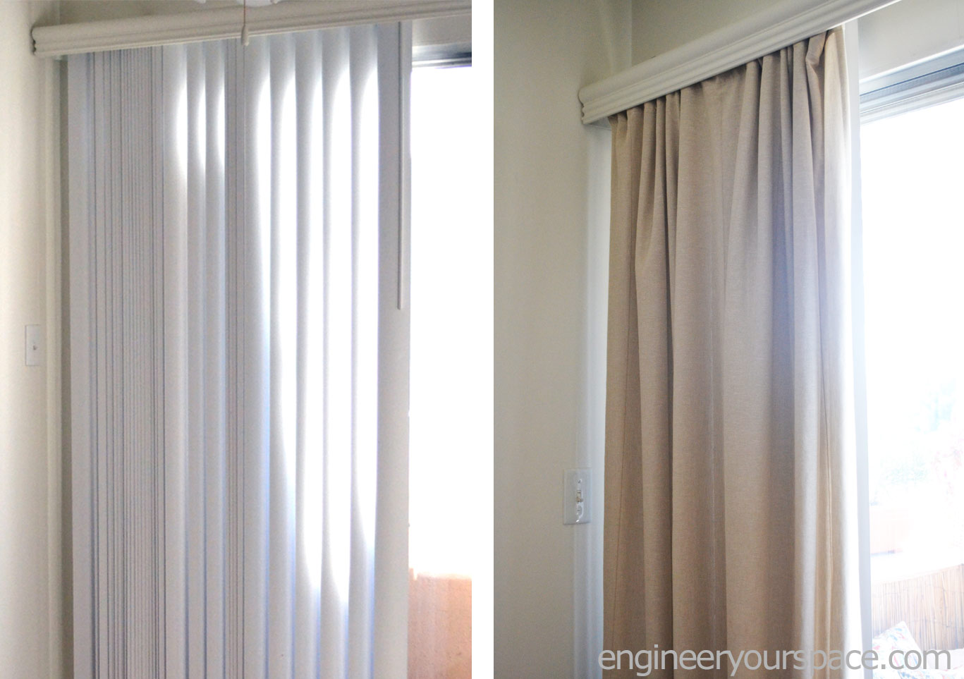 How To Conceal Vertical Blinds With Curtains
