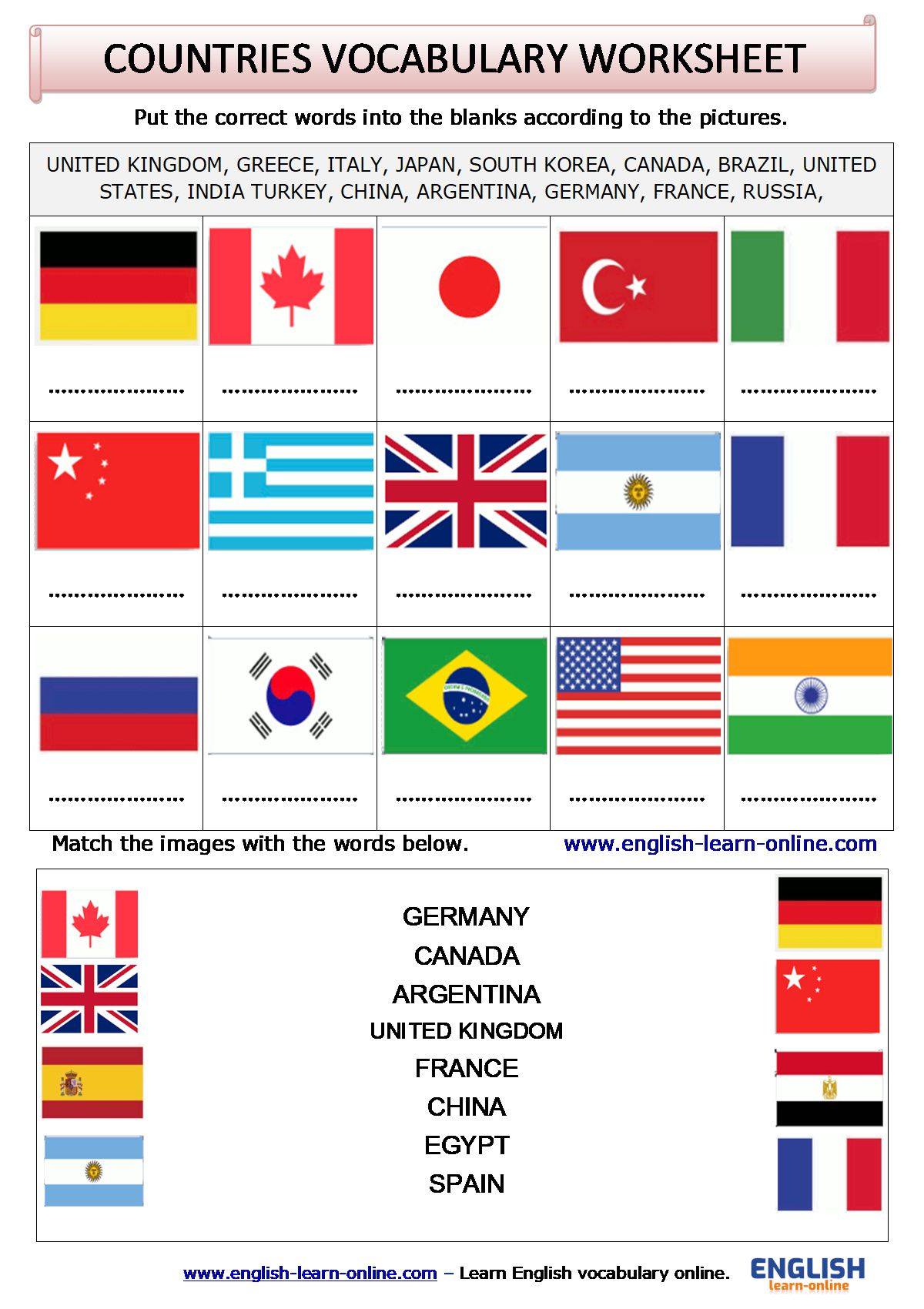 Countries Vocabulary In English