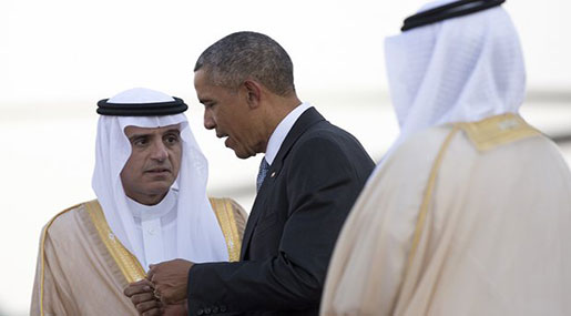 Saudi FM Adel al Jubeir and US President Barack Obama