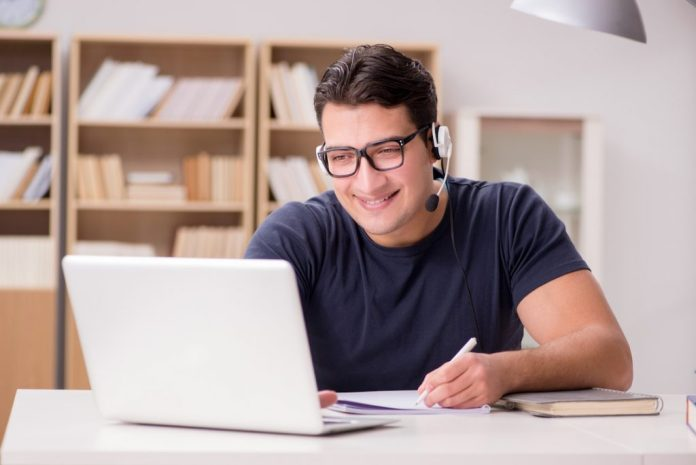 Man Teaching English Online