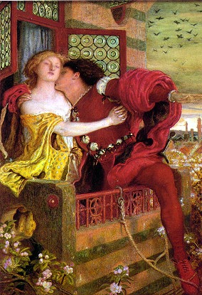 The famous balcony scene in Romeo and Juliet symbolizes their secret fulfillment of their forbidden love.  They embrace very passionately here, but only because it's night and Juliet's alone do the couple kiss unabashedly.