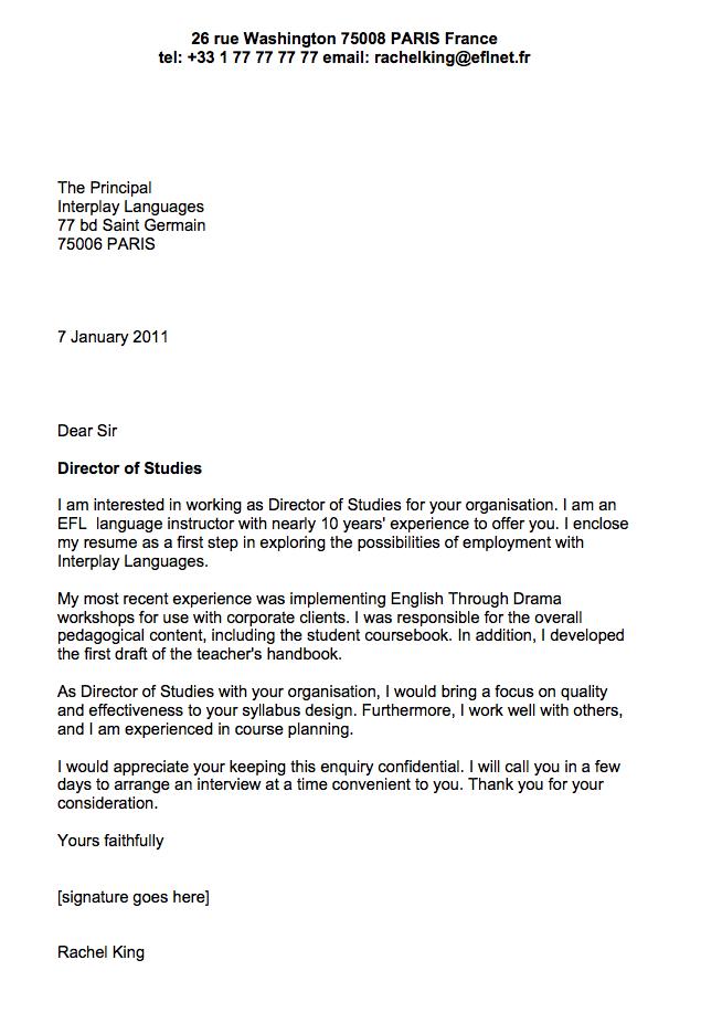 Application letter for high school english teacher